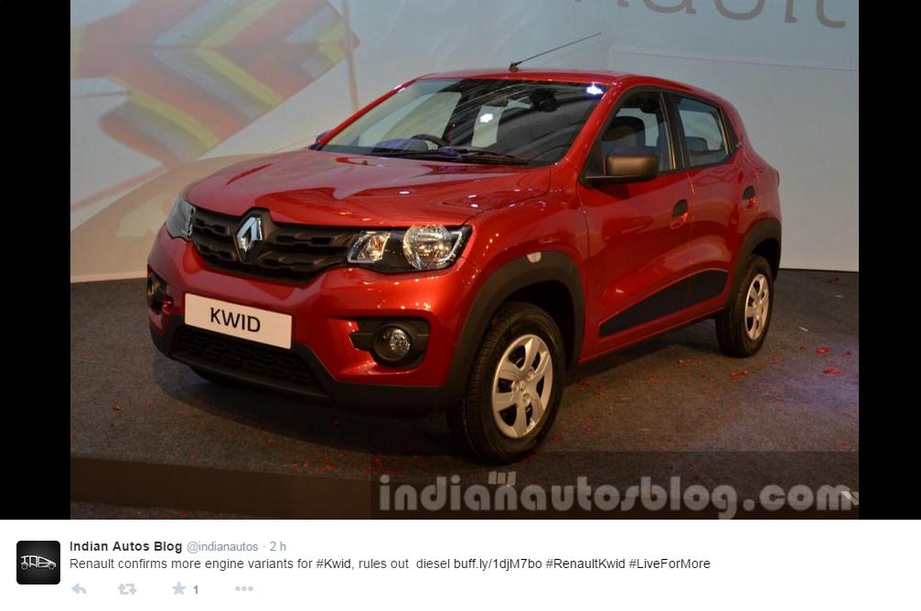 La Renault kwid lors de sa présentation le 20 mai 2015