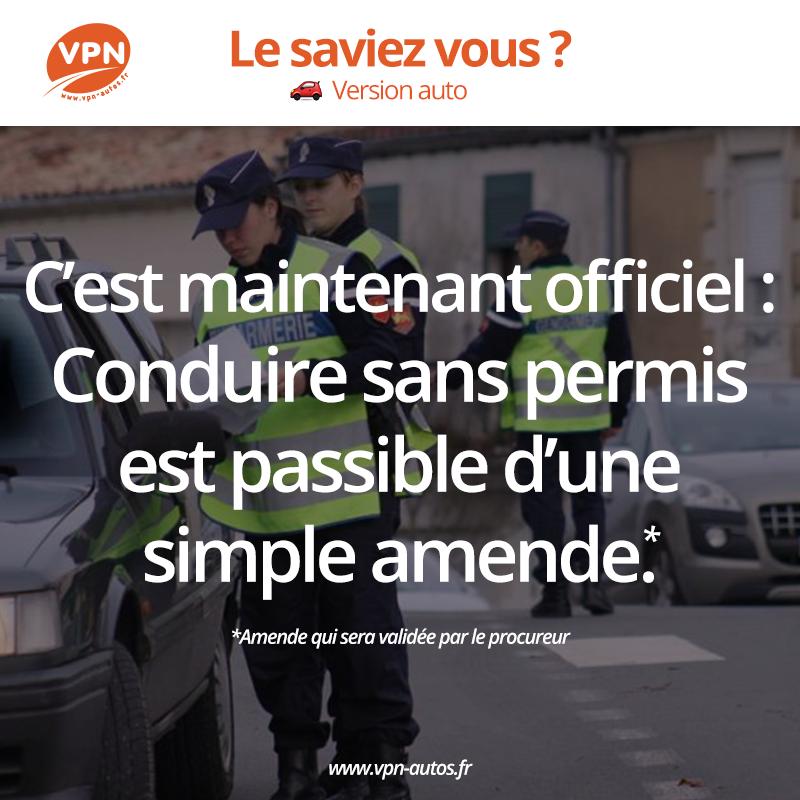 Une simple amende pour la conduite sans permis selon le decret publié le 14 Octobre 2015