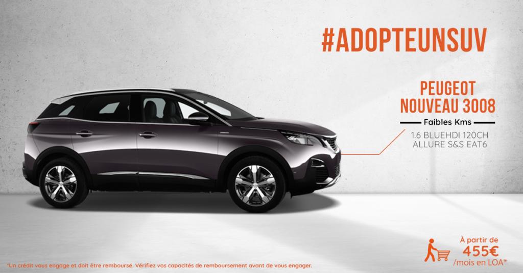 Nouveau SUV Peugeot 3008 pratiquement neuf ou occasion à prix mandataire auto